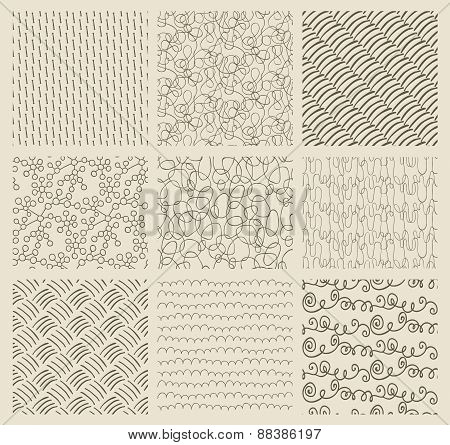 Abstract Hand Drawn Seamless Background Patterns