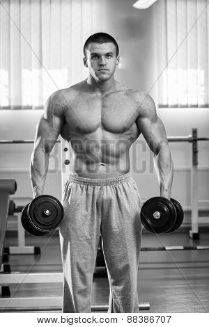 Handsome muscular man working out with dumbbells in gym.