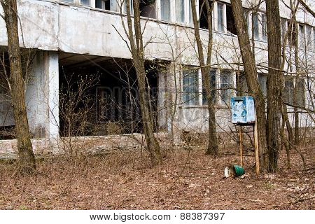 Mailbox In One Of The Abandoned Streets In Pripyat Ghost Town, Chernobyl Nuclear Power Plant Zone Of