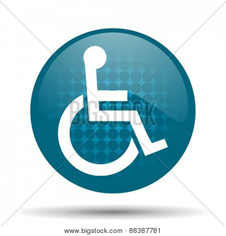 wheelchair blue glossy web icon