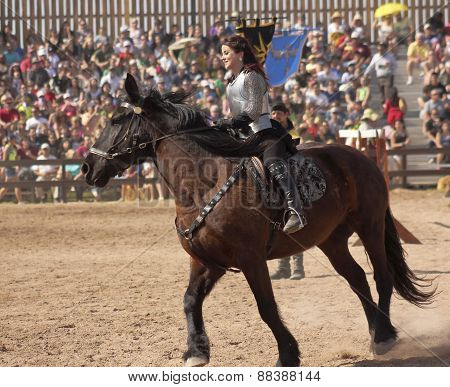 A Princess On Horseback At The Arizona Renaissance Festival