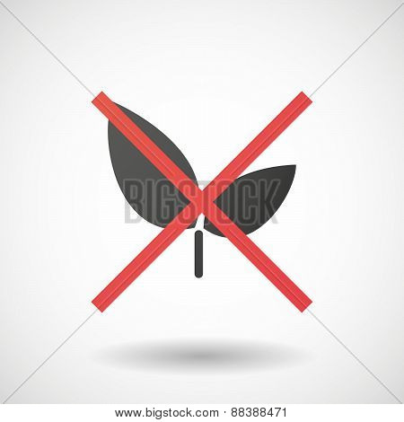 Not Allowed Icon With A Plant