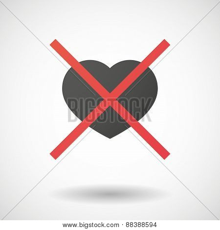 Not Allowed Icon With A Heart