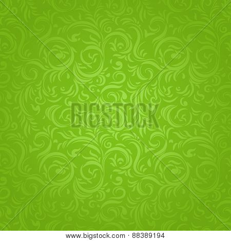 Green ornate seamless pattern with stylized leaves. Vector repeating background
