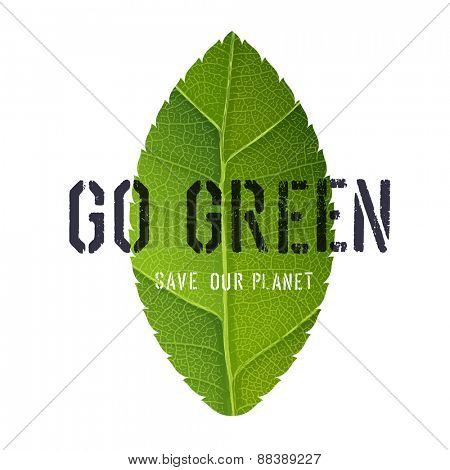 Go Green Poster with Leaf Symbol