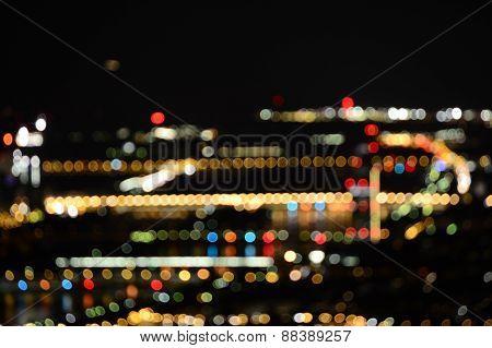 Defocused Of Blur Bokeh City Night Light Background