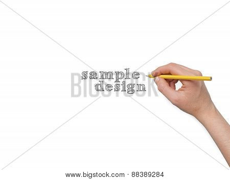 Hand With Pencil Isolated