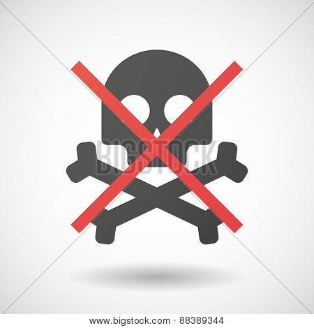 Not Allowed Icon With A Skull