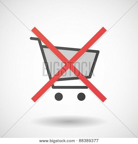 Not Allowed Icon With A Shopping Cart