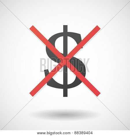 Not Allowed Icon With A Dollar Sign