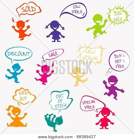 Kids With Chat Bubbles With Sale Messages