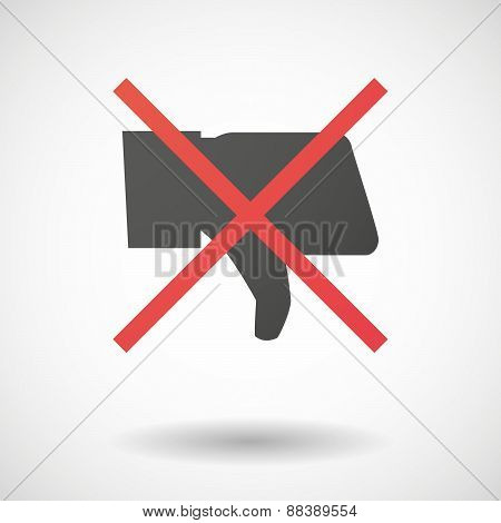 Not Allowed Icon With A Thumb Hand