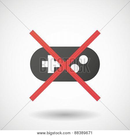 Not Allowed Icon With A Game Pad