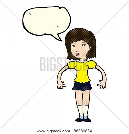 cartoon woman looking sideways with speech bubble