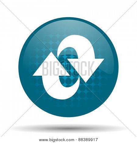 rotation blue glossy web icon