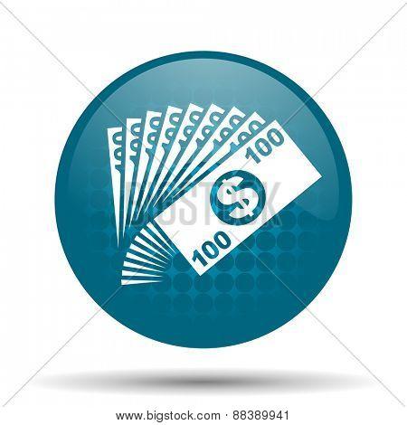 money blue glossy web icon