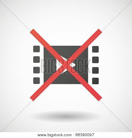 Not Allowed Icon With A Multimedia Sign