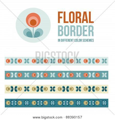 Set Of Design Elements - Floral Borders