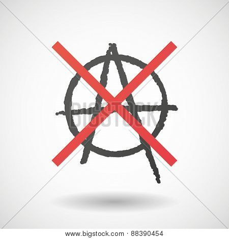 Not Allowed Icon With An Anarchy Sign
