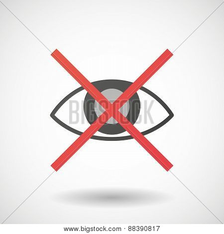 Not Allowed Icon With An Eye