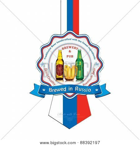 Brewed in Russia - Beer sticker advertising