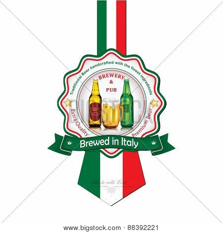 Brewed in Italy - Beer sticker advertising