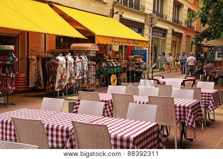French Traditional Sidewalk Cafe In Old Town Of Nice, France.