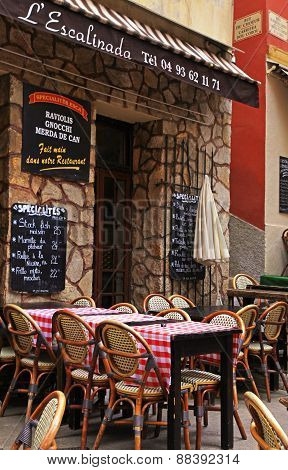 Outdoor French Traditional Cafe In Old Town Of Nice
