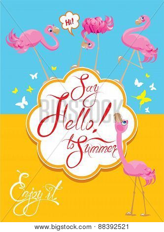 Funny Card With Pink Flamingos On Light Blue And Yellow Background. Round Frame With Calligraphic Wo