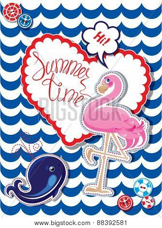 Funny Card With Pink Flamingo And Blur Whale On Stripe Background. Heart Frame With Calligraphic Wor