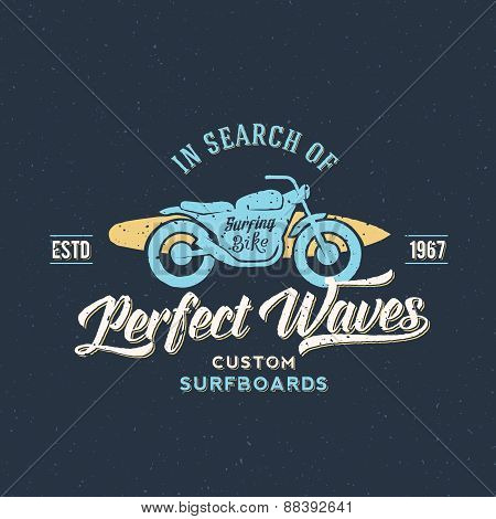 Perfect Waves Bike with Surfboard Abstract Retro Vector Label or Logo Template
