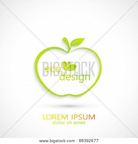 Green Apple Logo . Modern Eco Design . Vector Illustration
