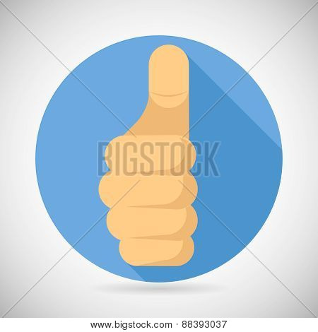 Thumbs up Hand Palm Pointing Finger Like Icon Social Media Concept Flat Design Vector Illustration