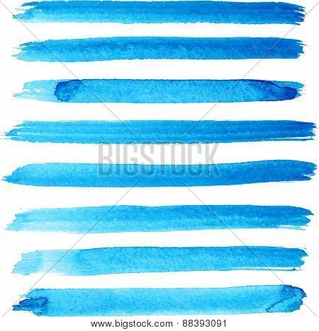 Set of bright blue color brush strokes