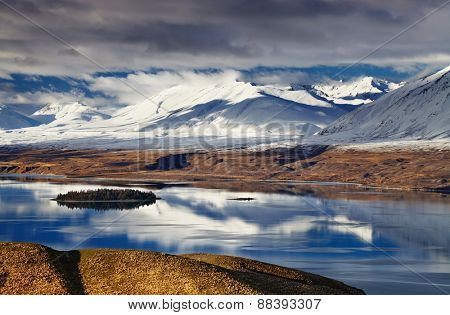 Southern Alps and Lake Tekapo, view from Mount John, Mackenzie Country, New Zealand