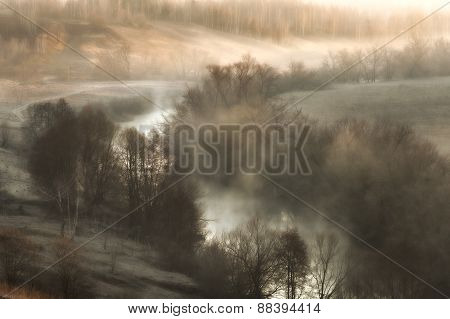 Surreal Landscape With A River Mist At Sunrise In The Early Spring