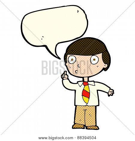cartoon school boy with speech bubble