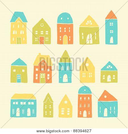 Colorful cartoon houses.