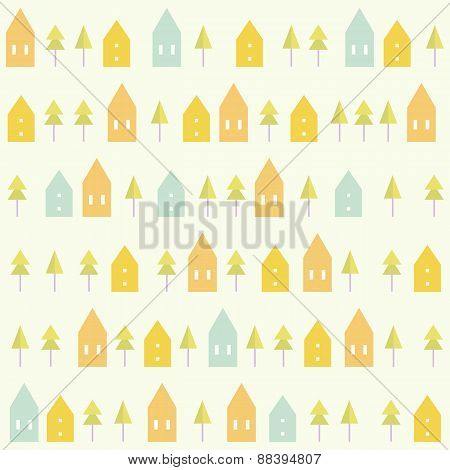 Houses and spruces pattern.