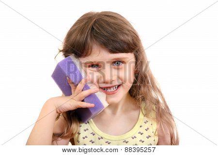 Little Girl With Bath Sponge