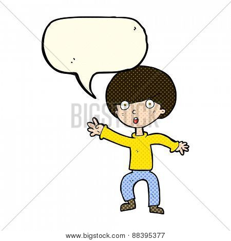 cartoon panicking boy with speech bubble