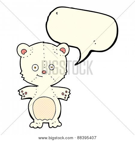 cartoon happy polar bear with speech bubble