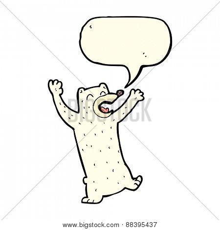 cartoon polar bear with speech bubble