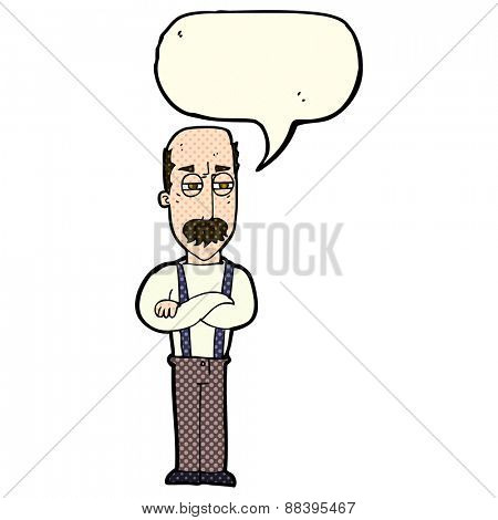 cartoon annoyed old man with speech bubble