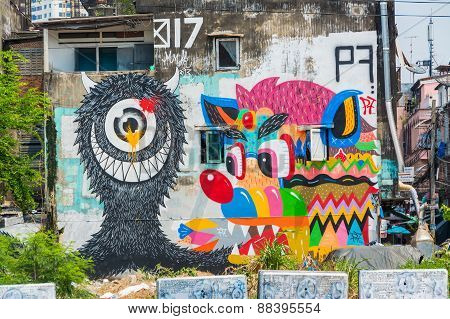 Giant Graffiti On The Abondon Building In Thailand