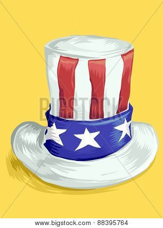 Illustration of a Top Hat Designed with the American Flag