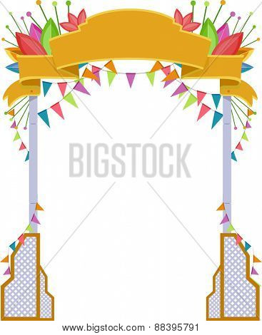 Illustration of a Welcome Arch with a Festival Theme