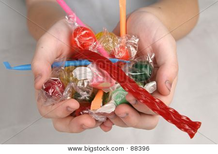 Hands Filled With Candy