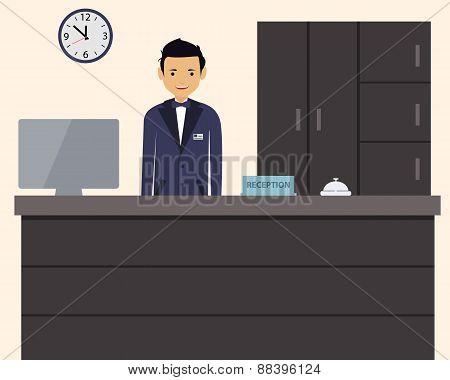 Happy male receptionist standing at hotel. Vector illustration