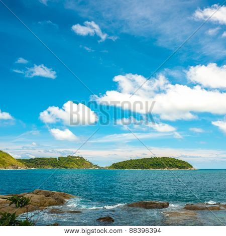 Beautiful Tropical Seascape With Islands And Stones At Thailand